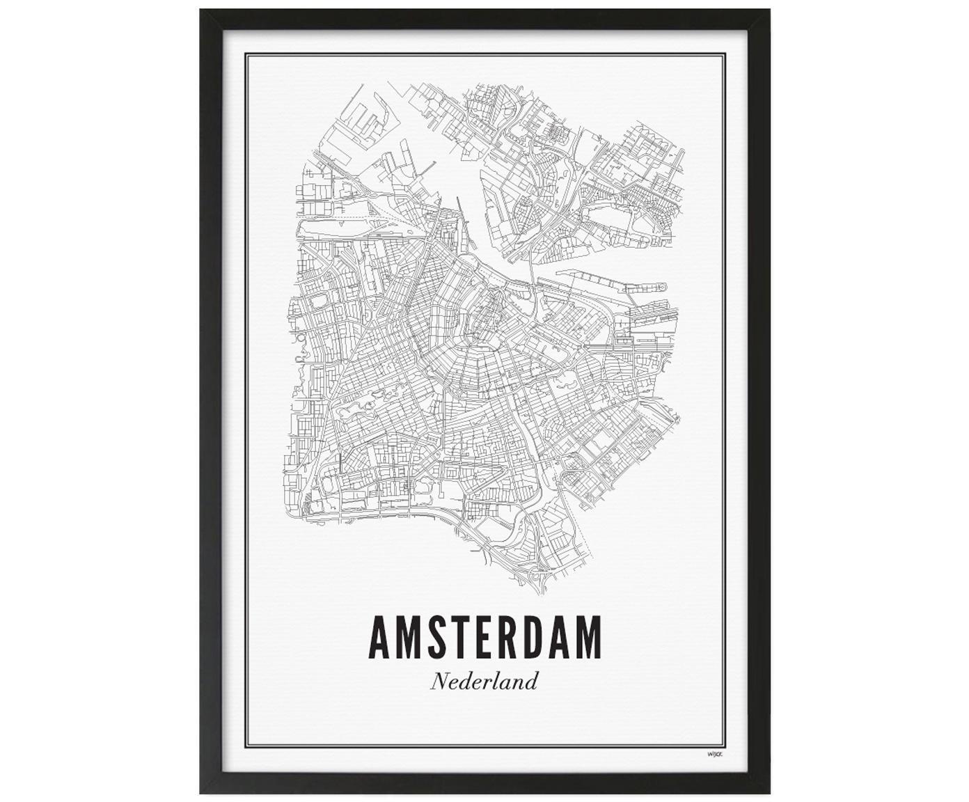 Stampa digitale incorniciata Amsterdam, Immagine: stampa digitale su carta , Cornice: legno verniciato, Immagine: nero, bianco Cornice: nero opaco, Larg. 42 x Alt. 53 cm