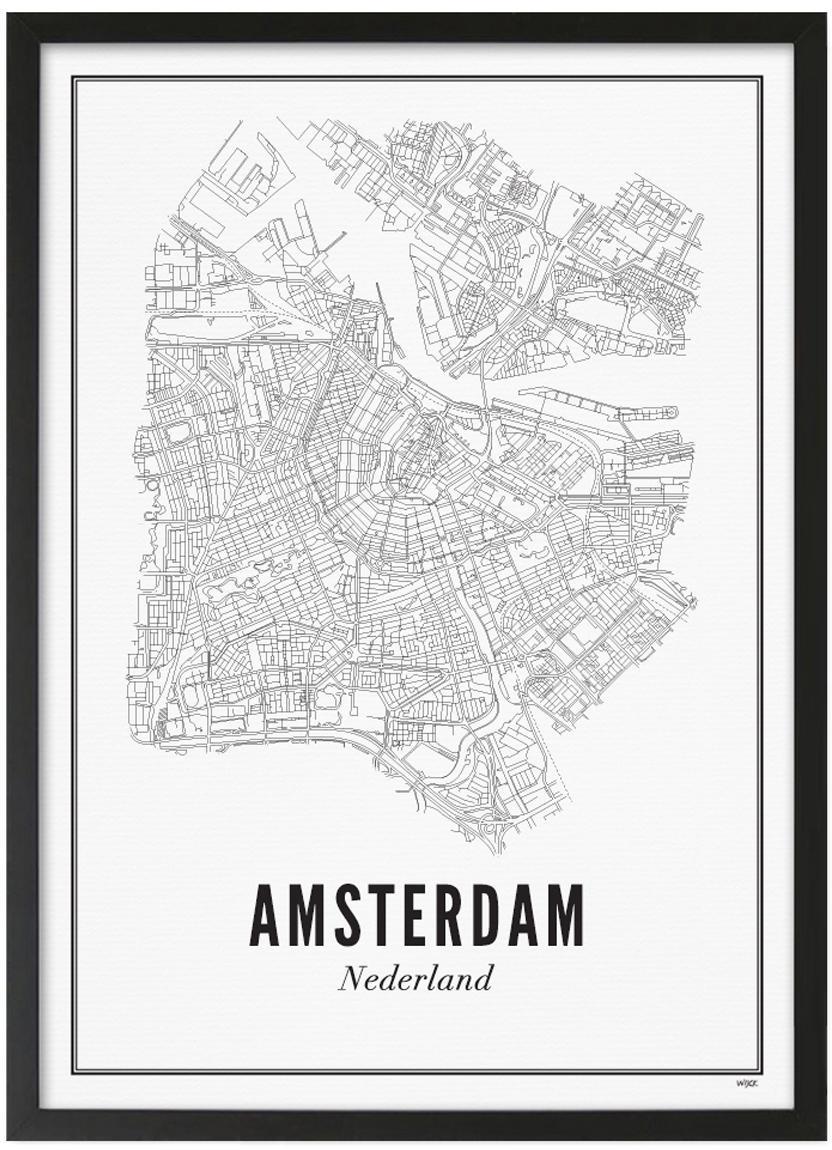 Oprawiony druk cyfrowy Amsterdam, Ilustracja: czarny, biały Rama: czarny, matowy, S 42 x W 53 cm