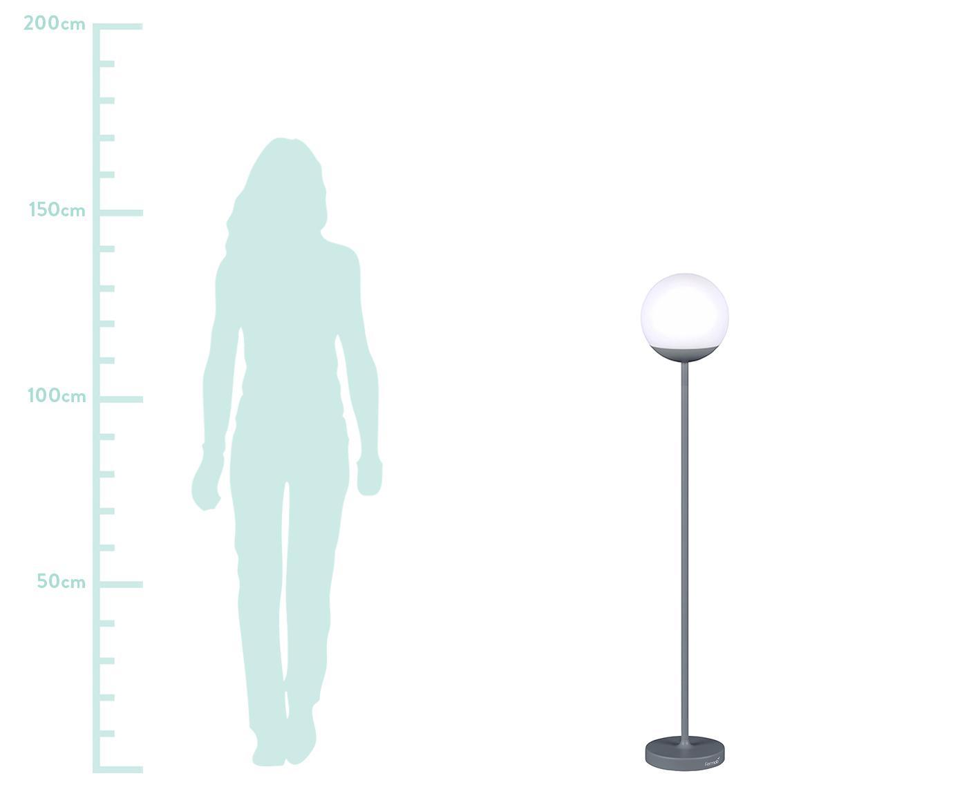 Mobiele outdoor LED lamp Mooon, Lampenkap: kunststof, Grijs, Ø 25 x H 134 cm