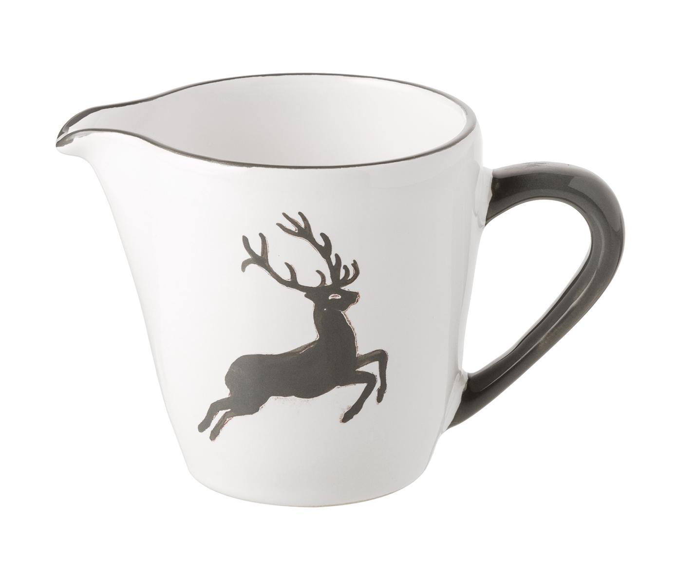 Handbemalter Milchgießer Gourmet Grauer Hirsch, Keramik, Grau,Weiß, 200 ml