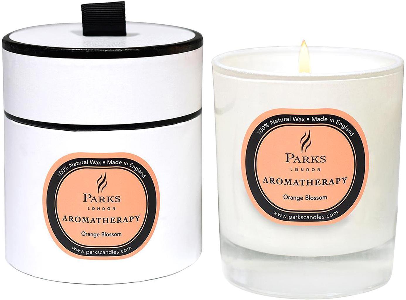 Duftkerze Aromatherapy (Orangenblüte), Behälter: Glas, Transparent, Weiss, Pfirsich, Ø 8 x H 9 cm