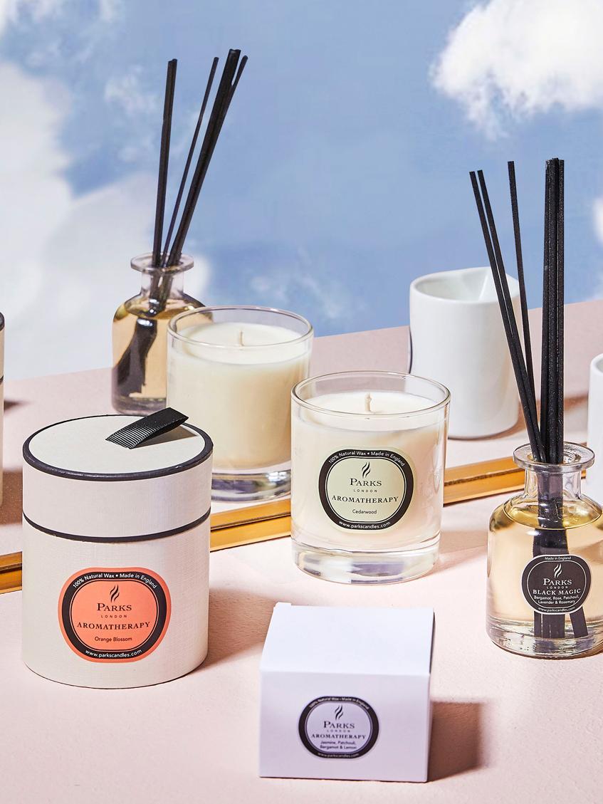 Duftkerze Aromatherapy (Orangenblüte), Behälter: Glas, Transparent, Weiß, Pfirsich, Ø 8 x H 9 cm