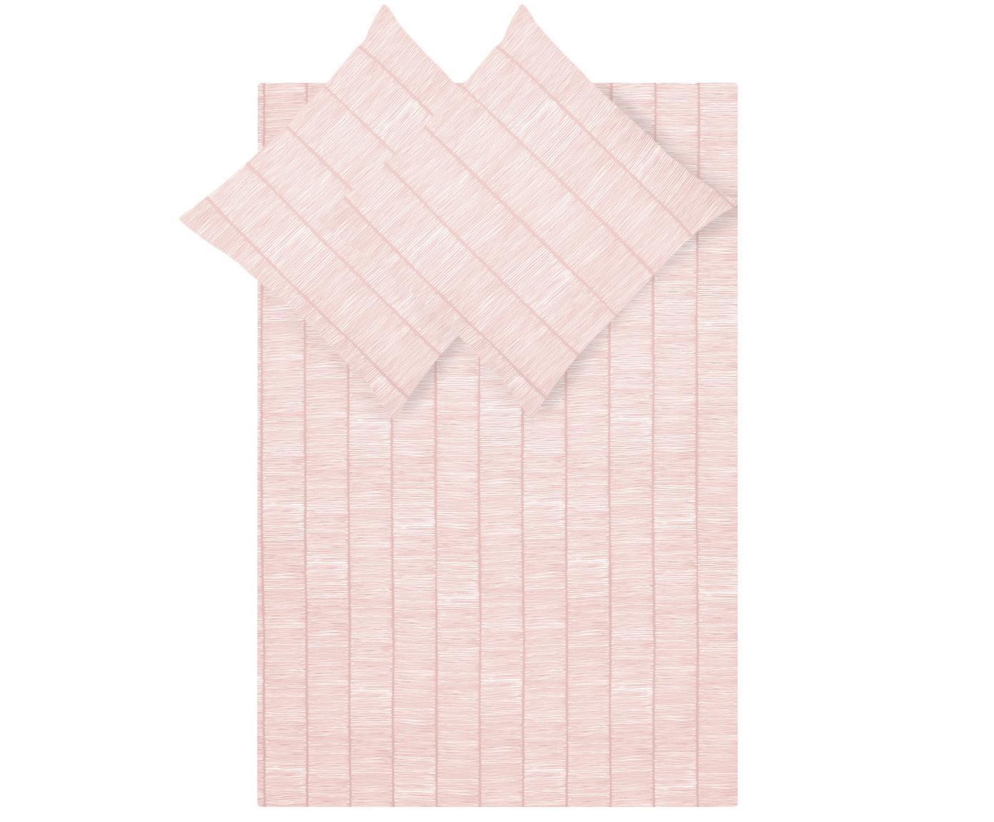 Gemusterte Baumwoll-Bettwäsche Paulina, Webart: Renforcé Fadendichte 144 , Rosa, Weiß, 240 x 220 cm + 2 Kissen 80 x 80 cm