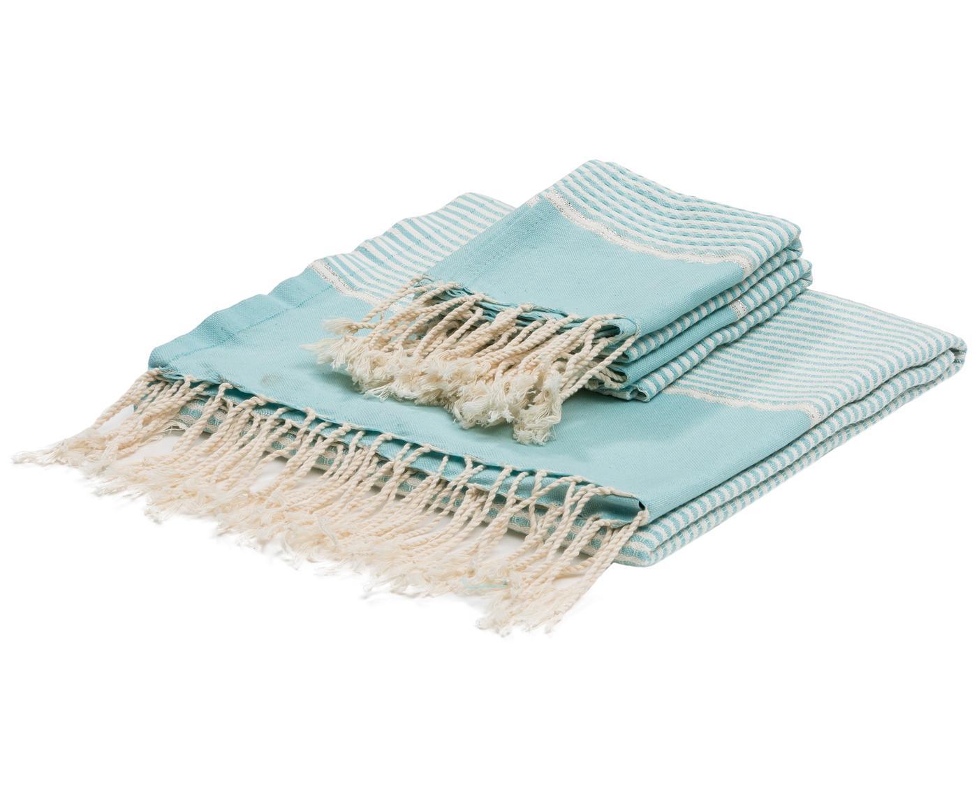 Komplet ręczników Copenhague z wykończeniem z lurexu, 3 elem., Jasny niebieski, odcienie srebrnego, biały, Różne rozmiary