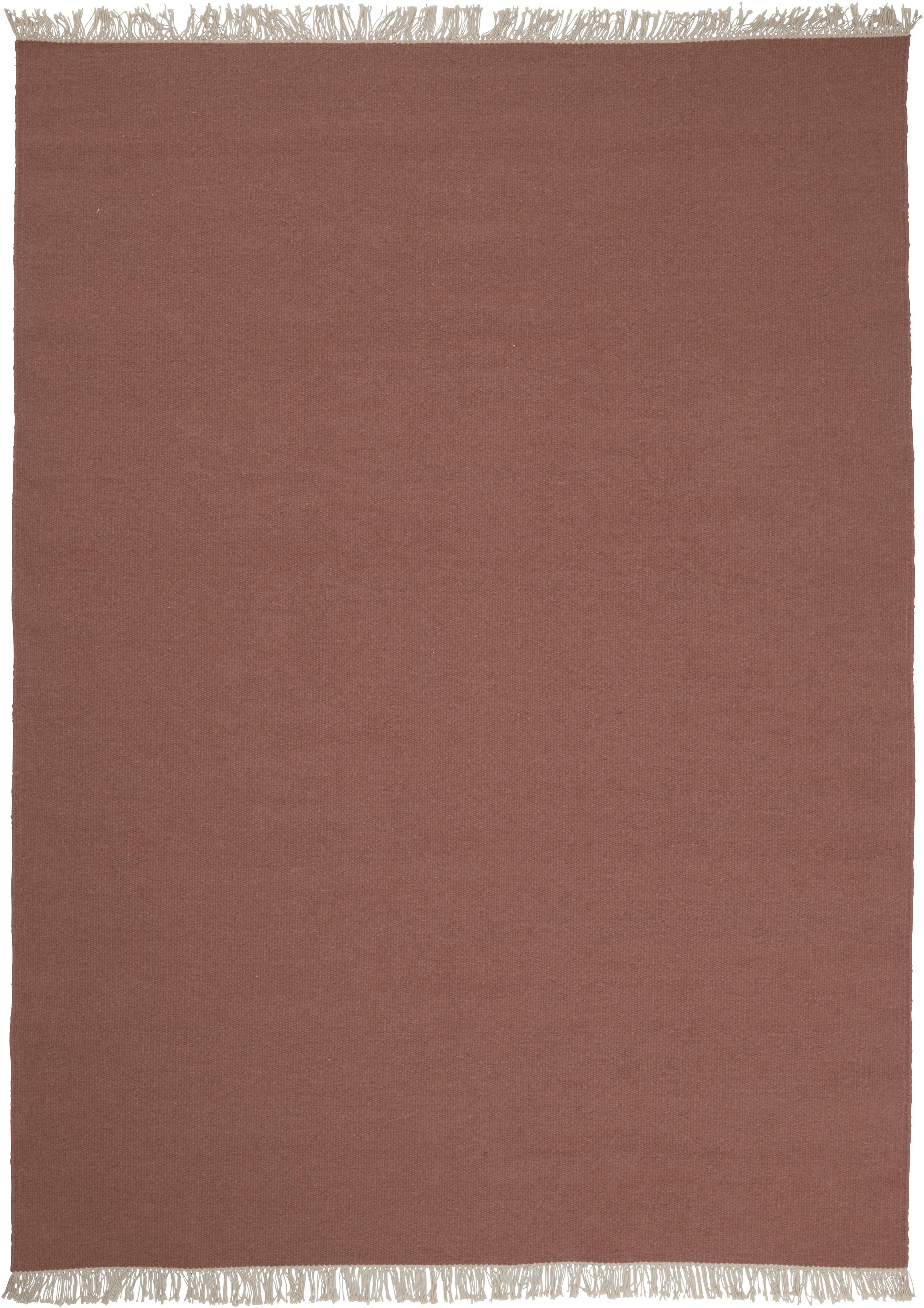 Handgeweven wollen vloerkleed Rainbow in rood met franjes, Franjes: 100% katoen, Bruinrood, B 140 x L 200 cm (maat S)