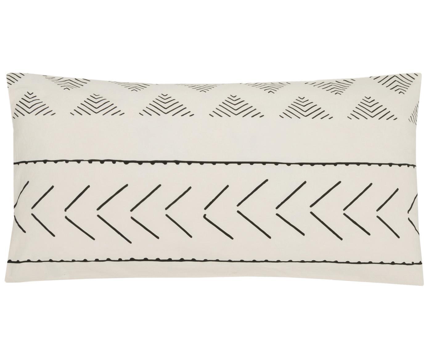 Poszewka na poduszkę z bawełny z efektem sprania Kohana, 2 szt., Ecru, czarny, S 40 x D 80 cm