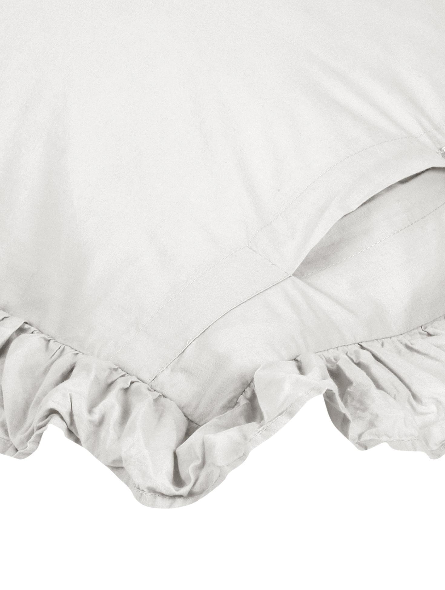 Gewaschene Baumwoll-Kissenbezüge Florence mit Rüschen, 2 Stück, Webart: Perkal Fadendichte 180 TC, Hellgrau, 40 x 80 cm