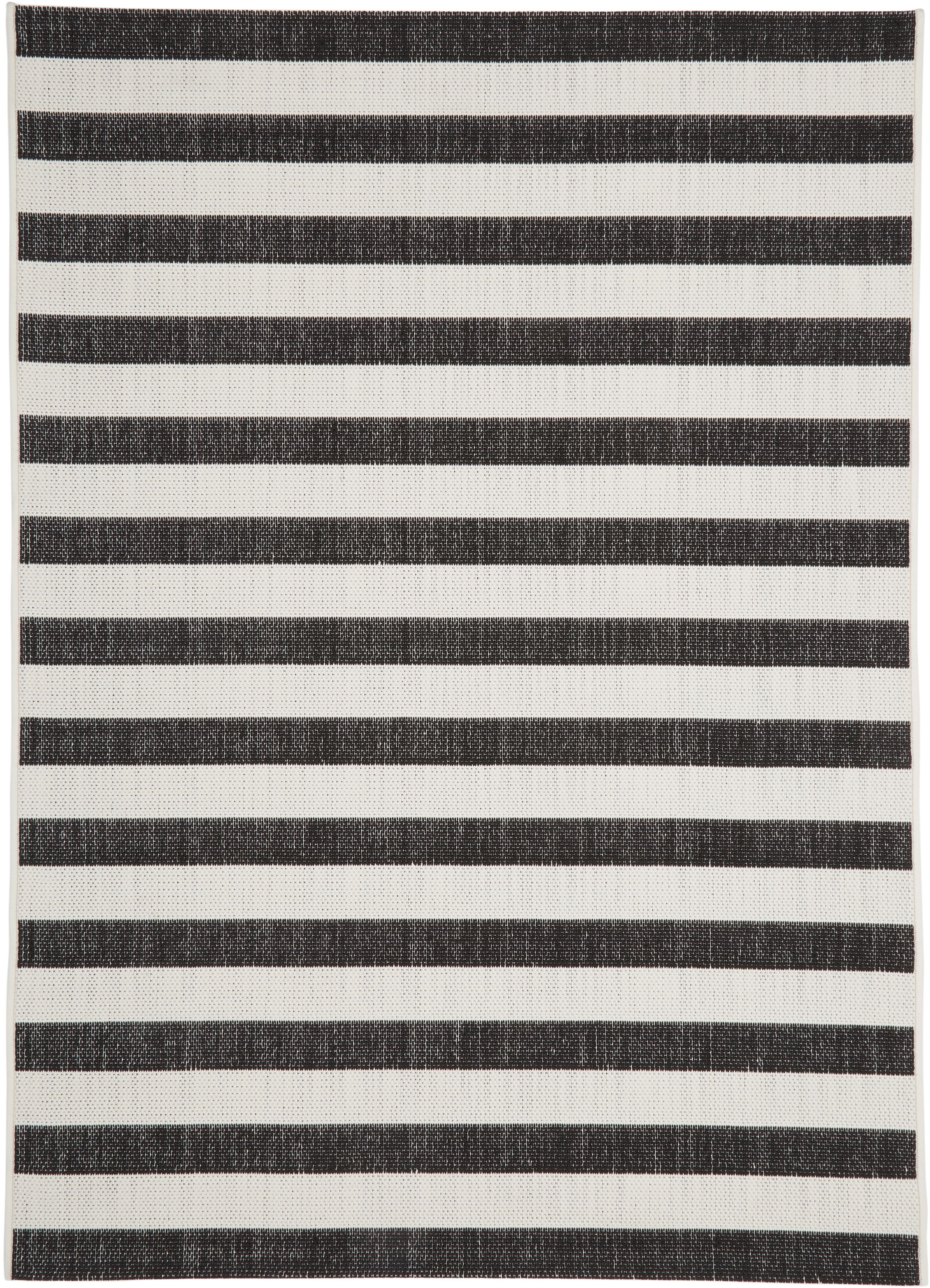 Gestreept in- & outdoor vloerkleed Axa in zwart/wit, Bovenzijde: 100% polypropyleen, Onderzijde: polyester, Crèmewit, zwart, B 160 x L 230 cm (maat M)