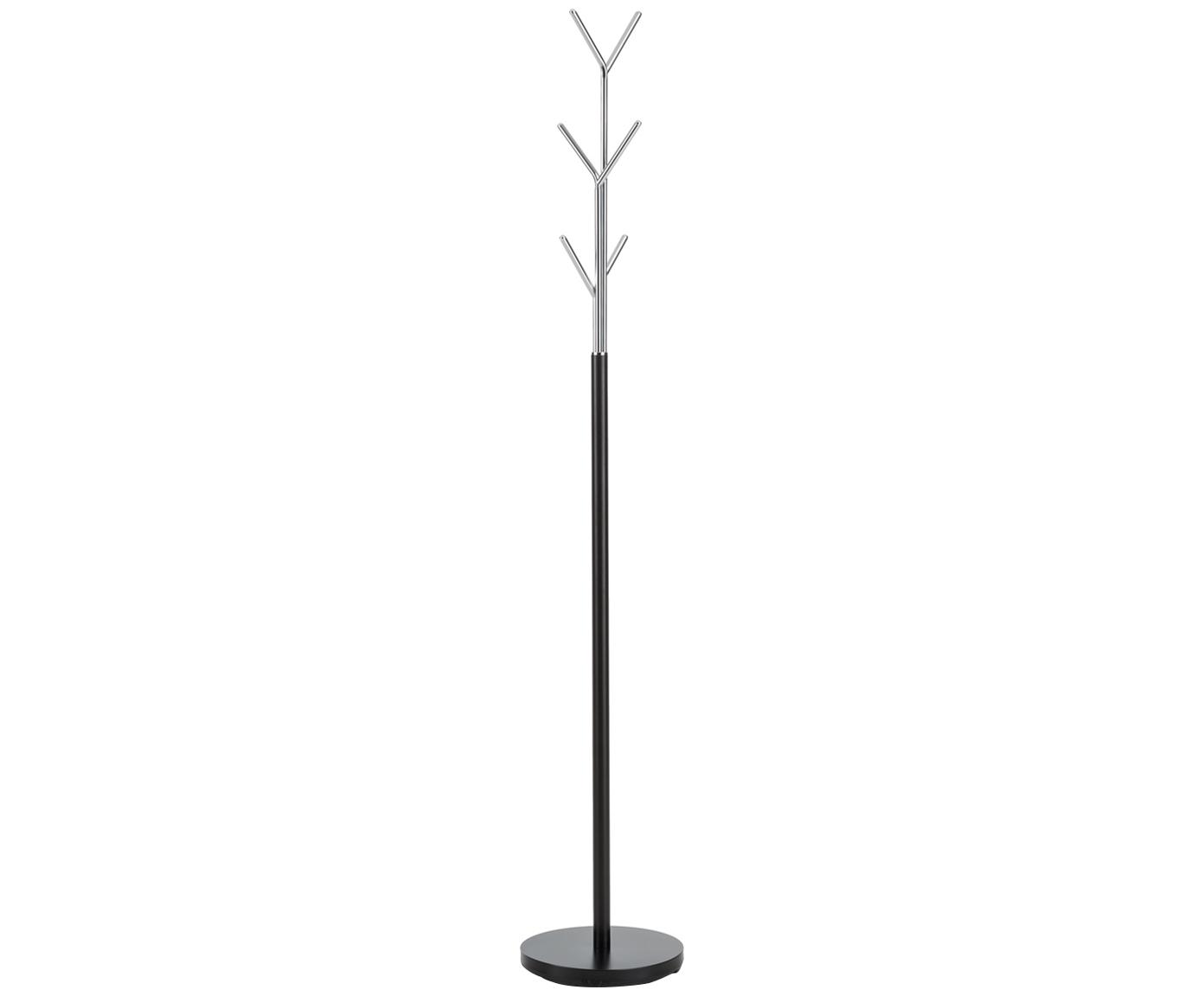 Kapstok London, Frame: gepoedercoat staal, Zwart, chroomkleurig, Ø 31 x H 177 cm