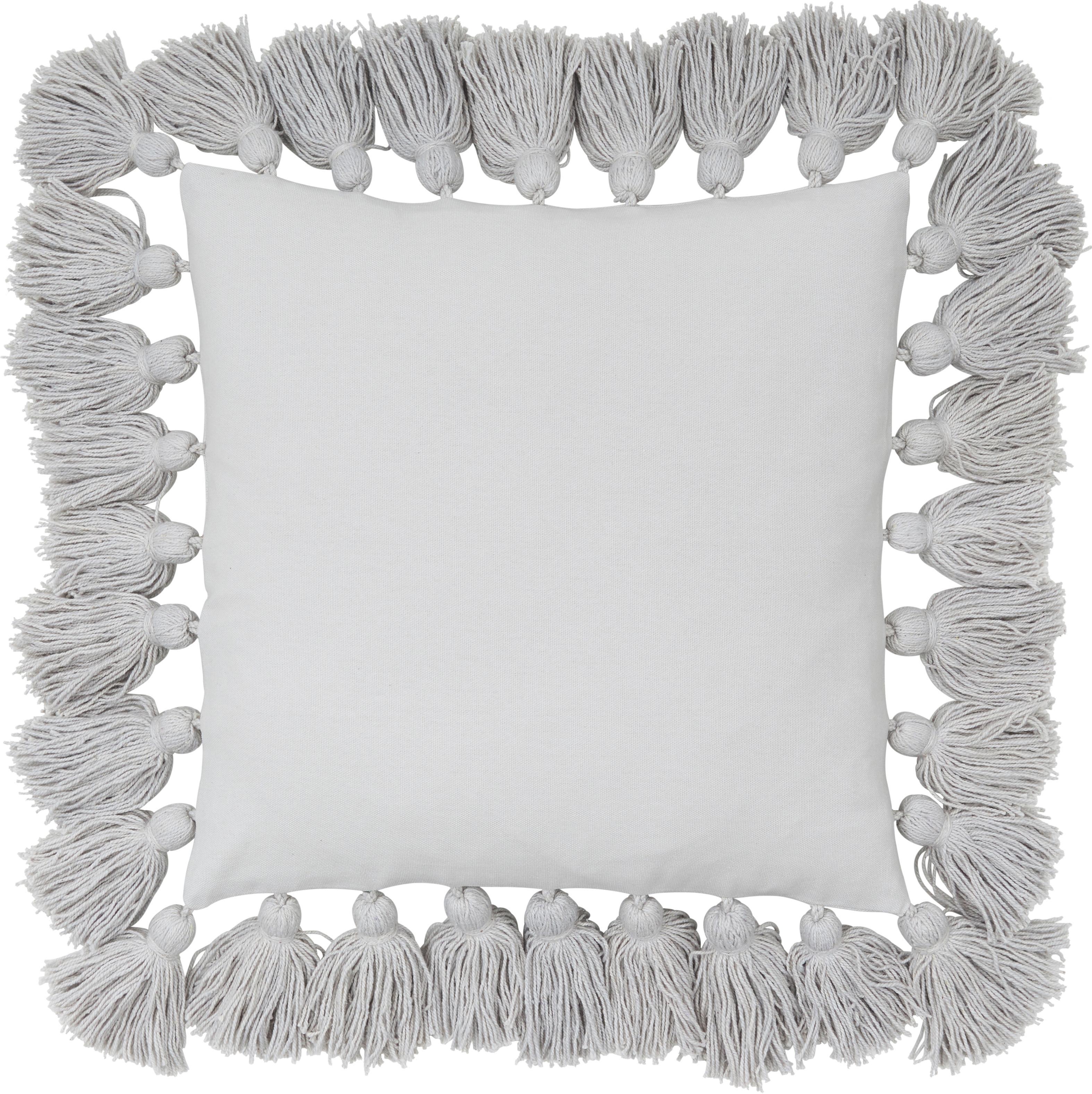 Funda de cojín con borlas Shylo, Algodón, Gris claro, An 40 x L 40 cm