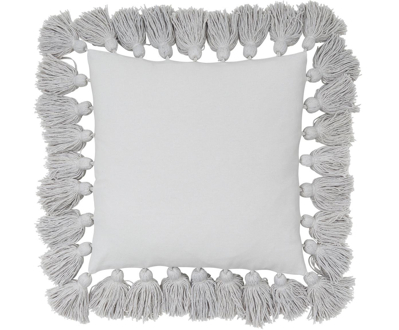 Kissenhülle Shylo mit Quasten, 100% Baumwolle, Hellgrau, 40 x 40 cm