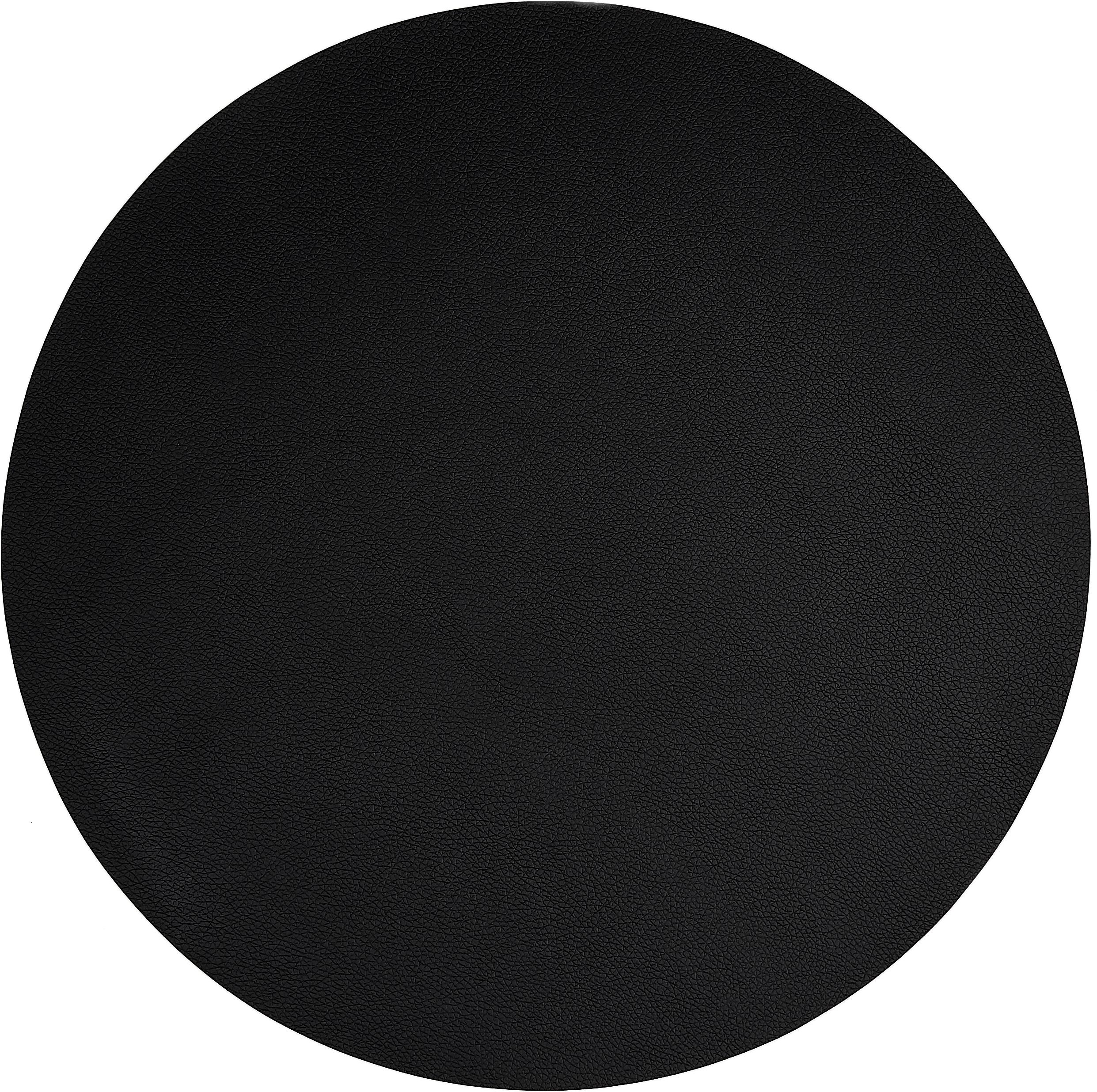 Runde Kunstleder-Tischsets Pik, 2 Stück, Kunstleder (PVC), Schwarz, Ø 38 cm