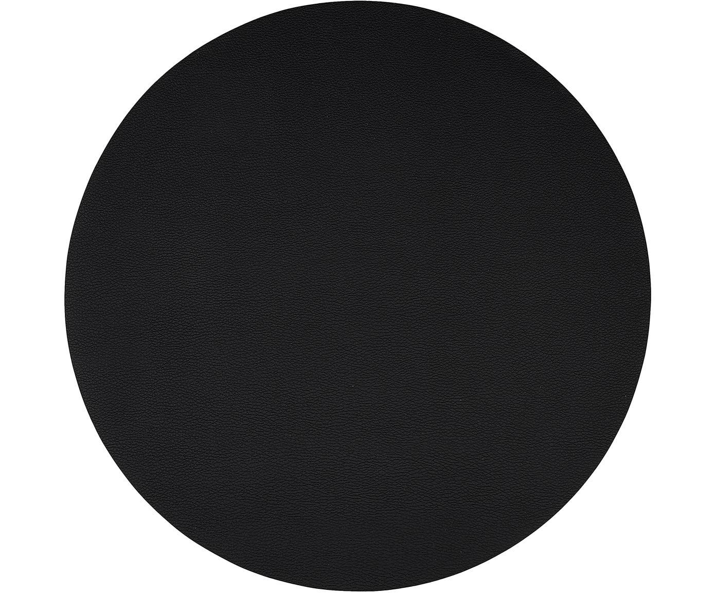 Manteles individuales redondos de cuero sintético Pik, 2uds., Plástico (PVC) es aspecto de cuero, Negro, Ø 38 cm