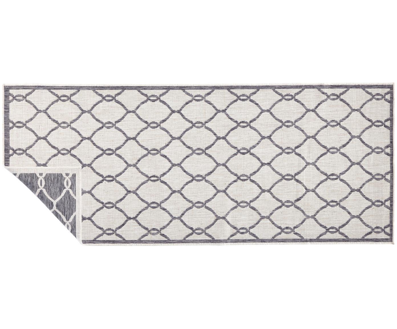 Passatoia reversibile da interno-esterno Rimini, Grigio, crema, Larg. 80 x Lung. 250 cm