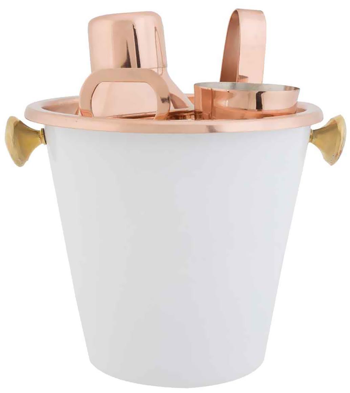 Bar-Set Livett mit Shaker und verschiedenen Barutensilien, 6-tlg., Metall, beschichtet, Weiß, Kupferfarben, Sondergrößen
