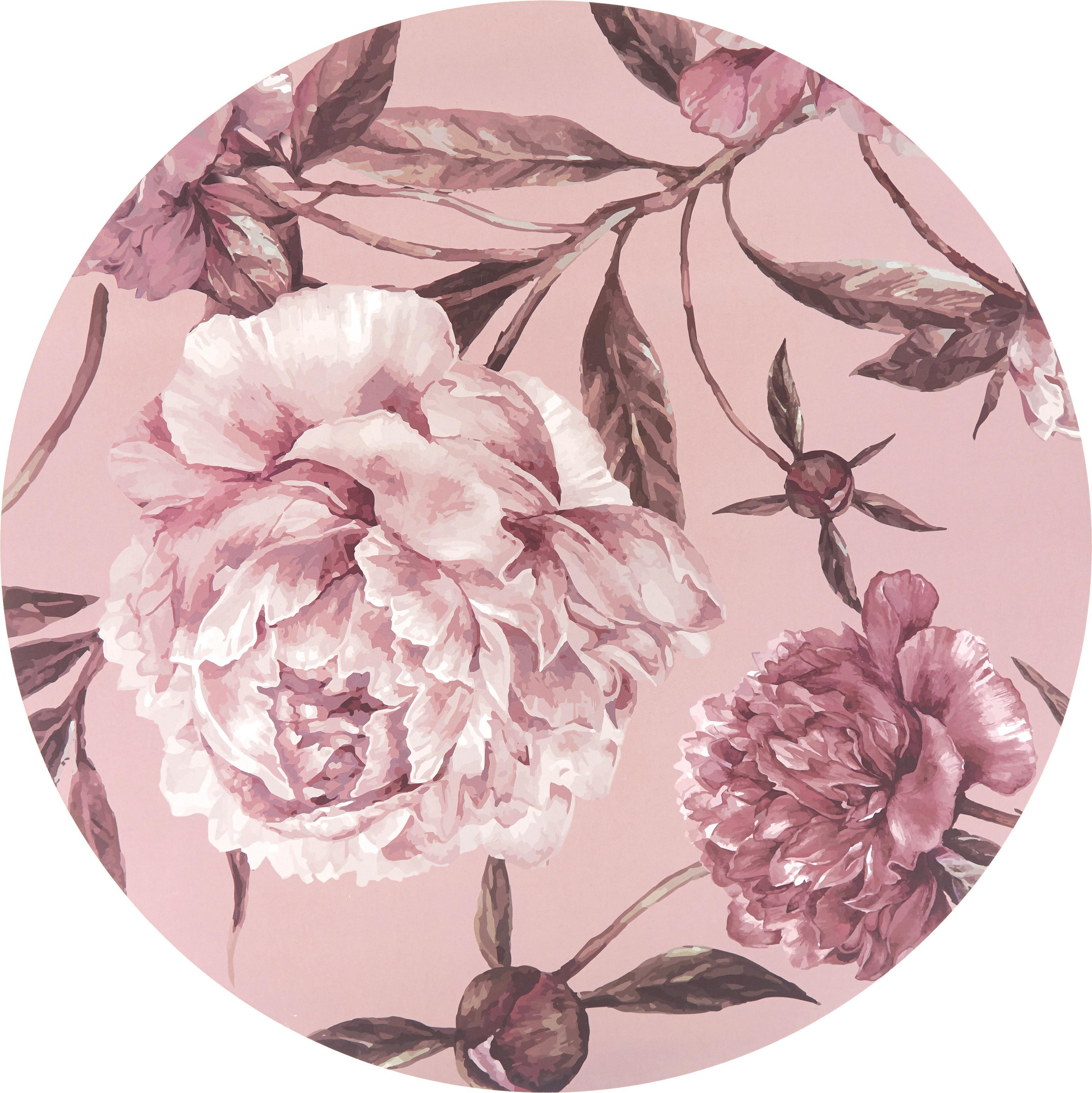Tovaglietta americana rotonda Secret Garden 2 pz, Retro: sughero, Tonalità rosa, verde, Ø 38 cm