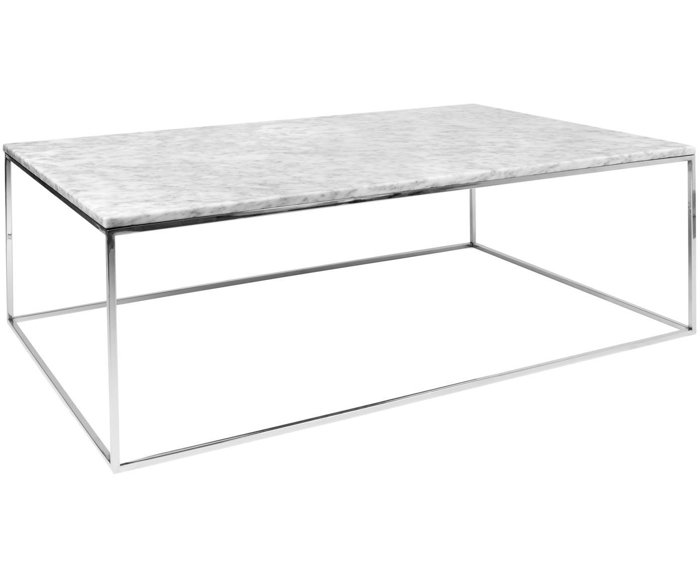 Tavolino da salotto in marmo Gleam, Piano d'appoggio: marmo, Struttura: acciaio cromato, Piano d'appoggio: bianco, marmo Struttura: cromo, Larg. 120 x Alt. 40 cm