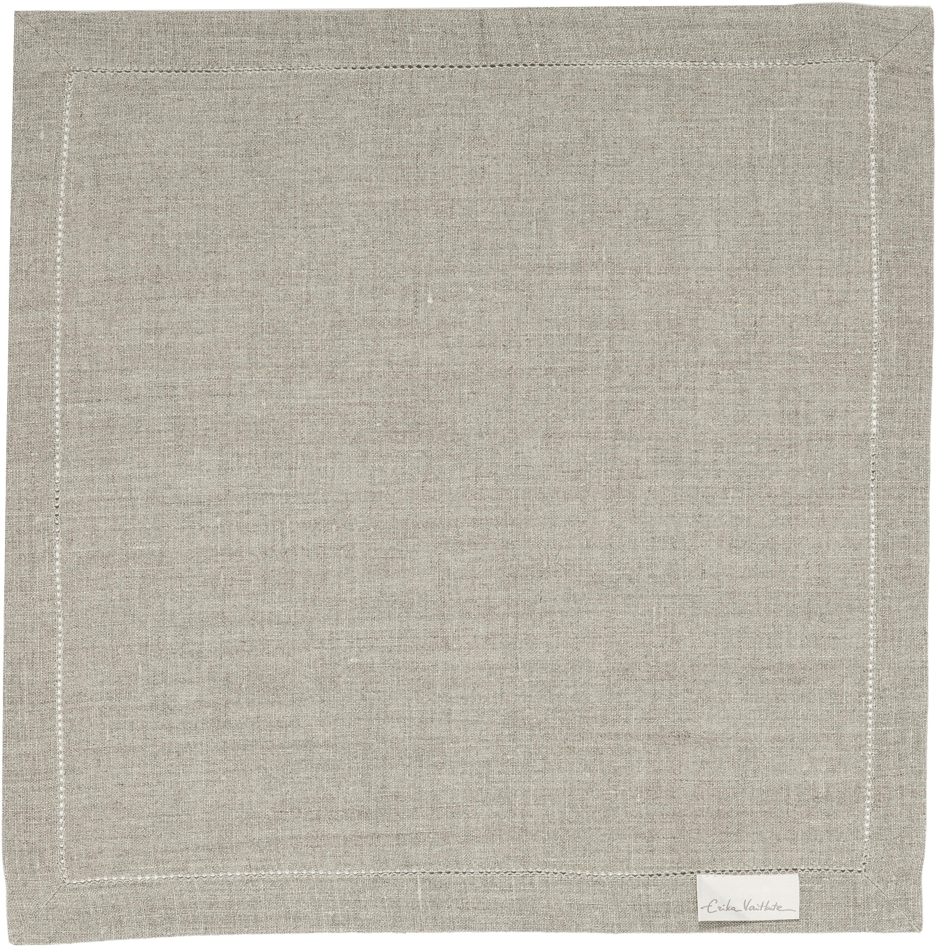 Tovagliolo in lino con bordo ricamato Alanta 6 pz, Beige, Larg. 42 x Lung. 42 cm