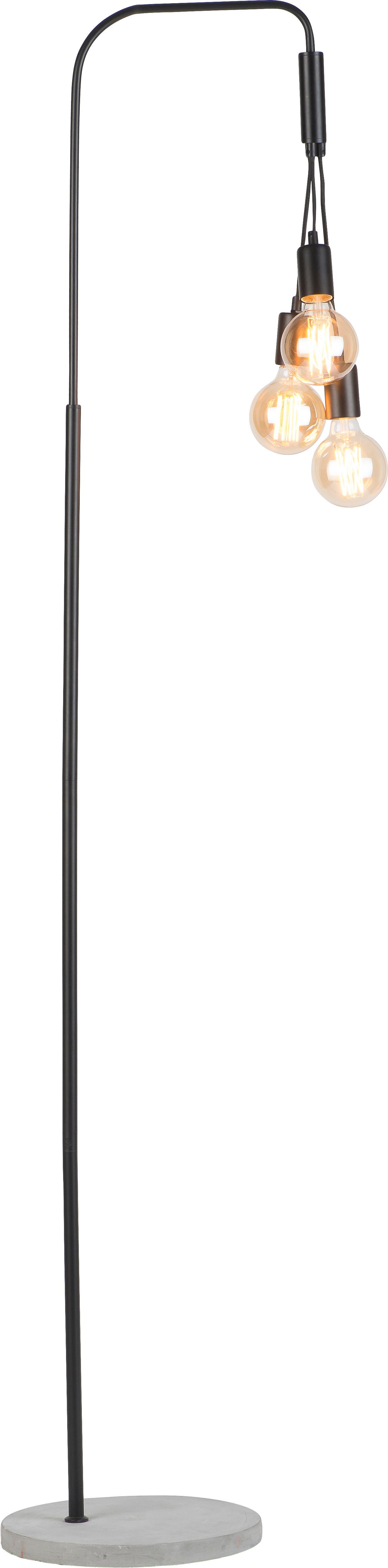 Industriële vloerlamp Oslo met betonnen voet, Lamp: gecoat metaal, Lampvoet: beton, Zwart, 48 x 190 cm
