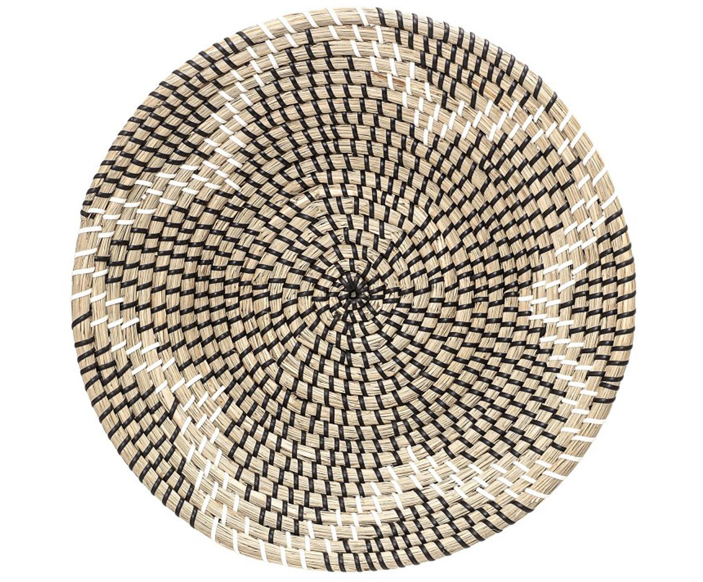 Wandobject Star van zeegras, Zeegras, Beige, zwart, Ø 36 x D 7 cm