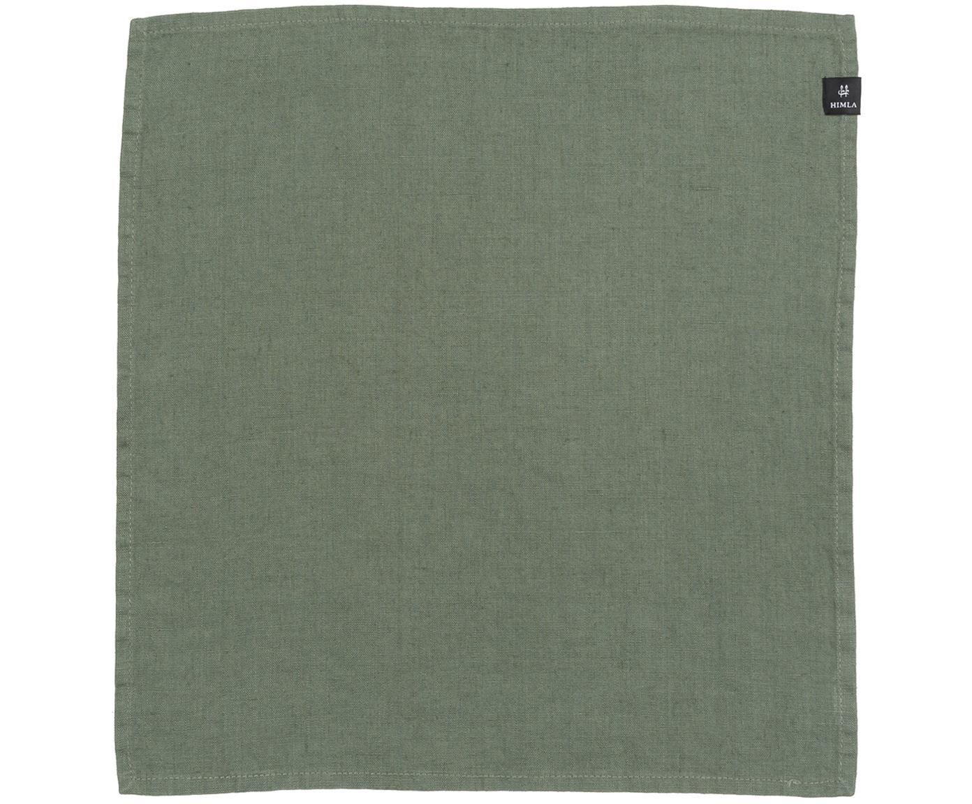 Tovagliolo in lino Sunshine 4 pz, Lino, Verde, P 45 x L 45 cm