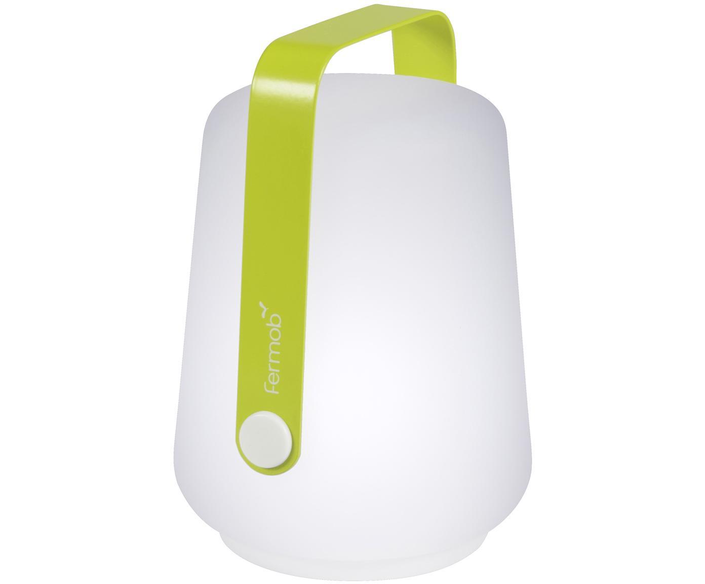 Lampada portatile a LED da esterno Balad 3 pz, Paralume: polietilene, Manico: alluminio verniciato, Verde chiaro, Ø 10 x Alt. 13 cm