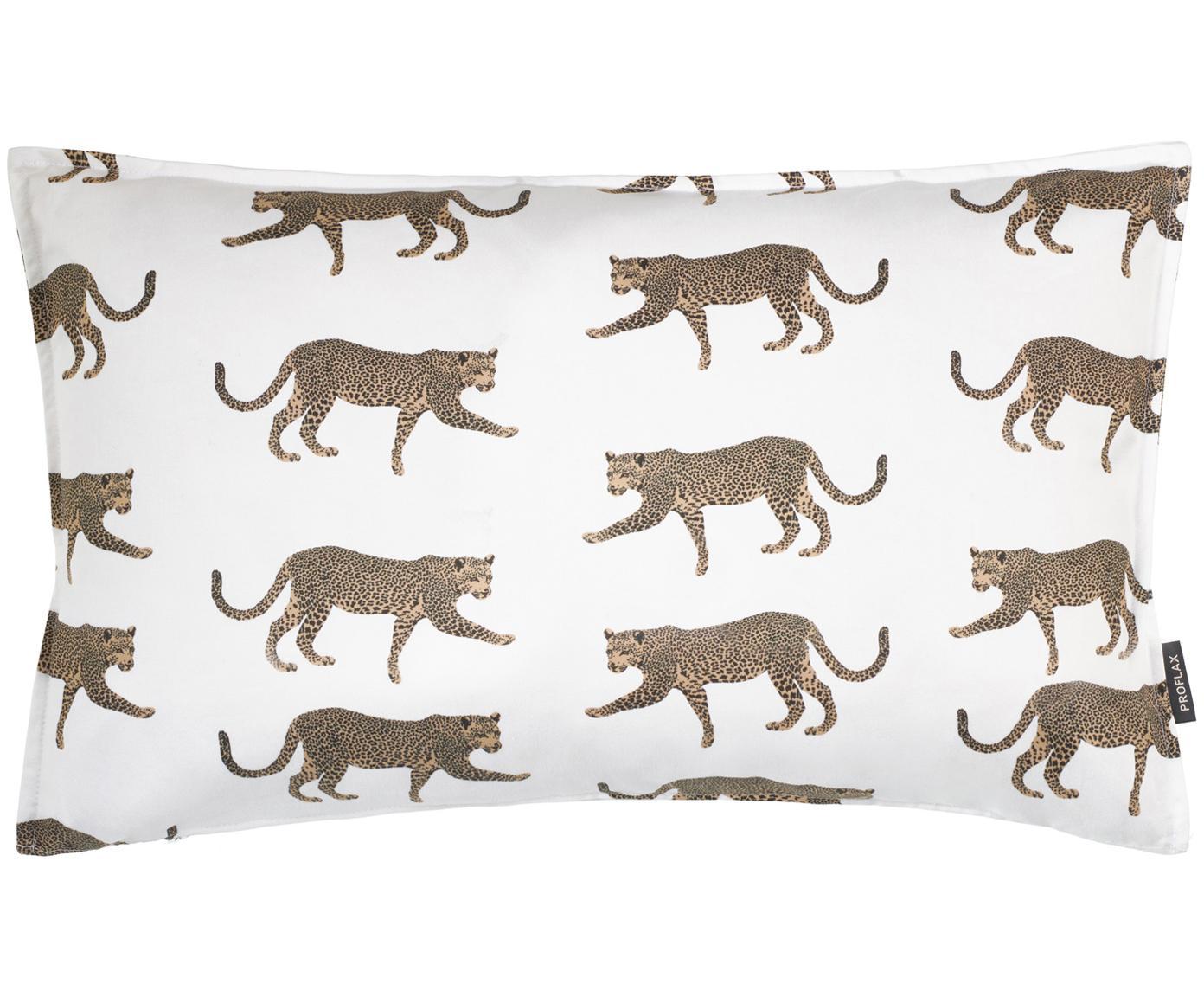 Federa arredo con motivo leopardo Tambo, Cotone, Bianco latteo, beige, nero, Larg. 30 x Lung. 50 cm