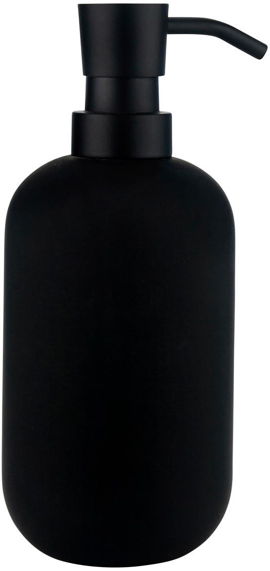 Dosatore di sapone Lotus, Contenitore: ceramica, Testa della pompa: metallo, Nero, Ø 8 x A 18 cm