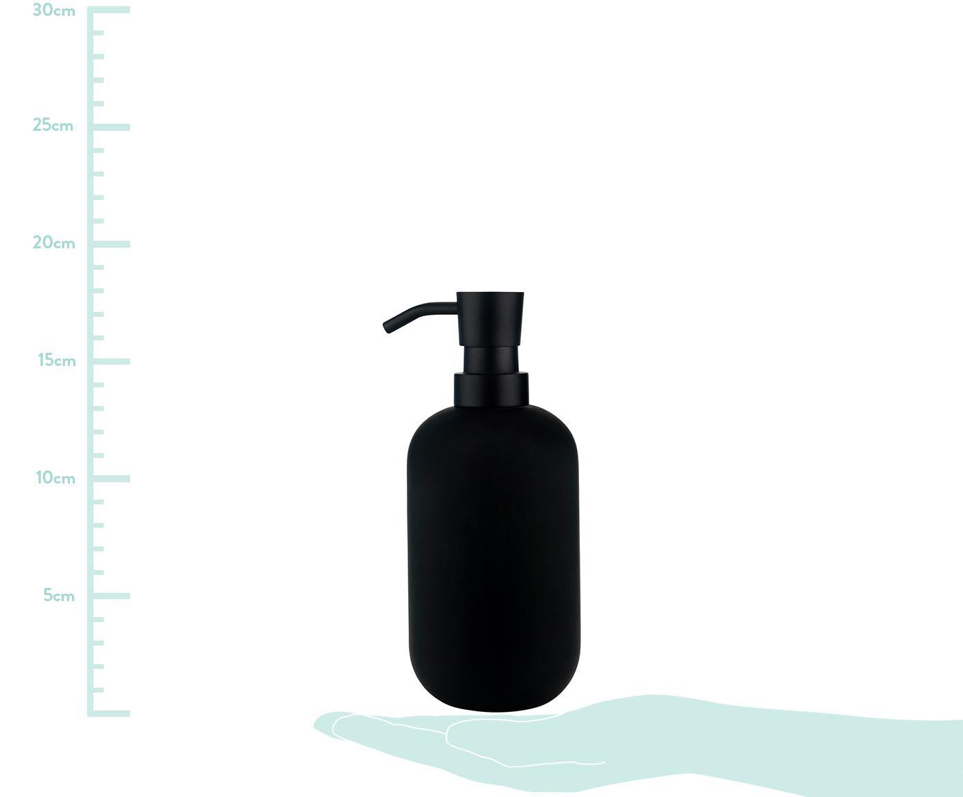 Keramik-Seifenspender Lotus, Behälter: Keramik, Pumpkopf: Metall, Schwarz, Ø 8 x H 18 cm