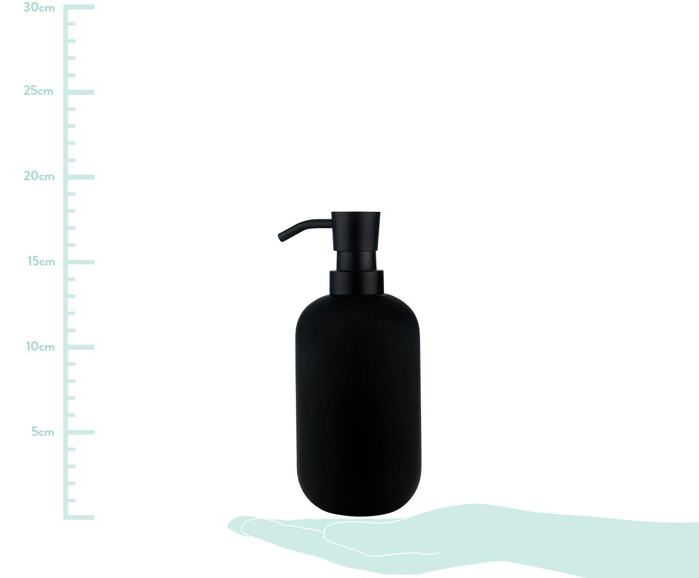 Dozownik do mydła Lotus, Czarny, Ø 8 x W 18 cm