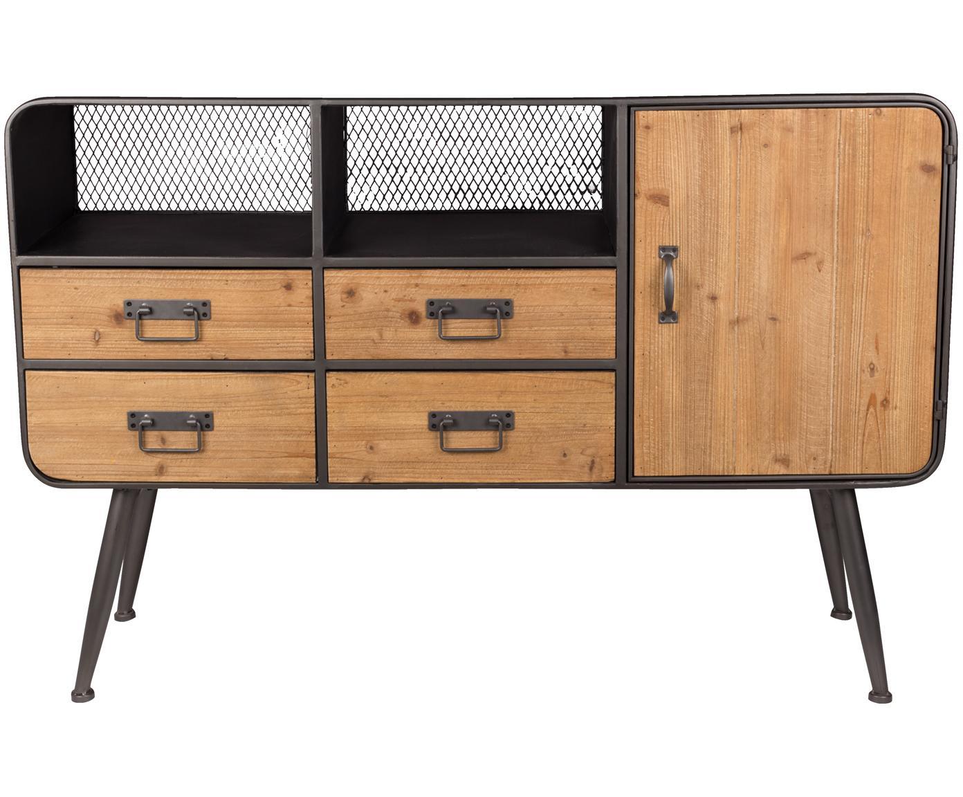 Kommode Gin im Industrial Design, Türen: Tannenholz Gestell, Griffe und Füße: Grau, 120 x 80 cm