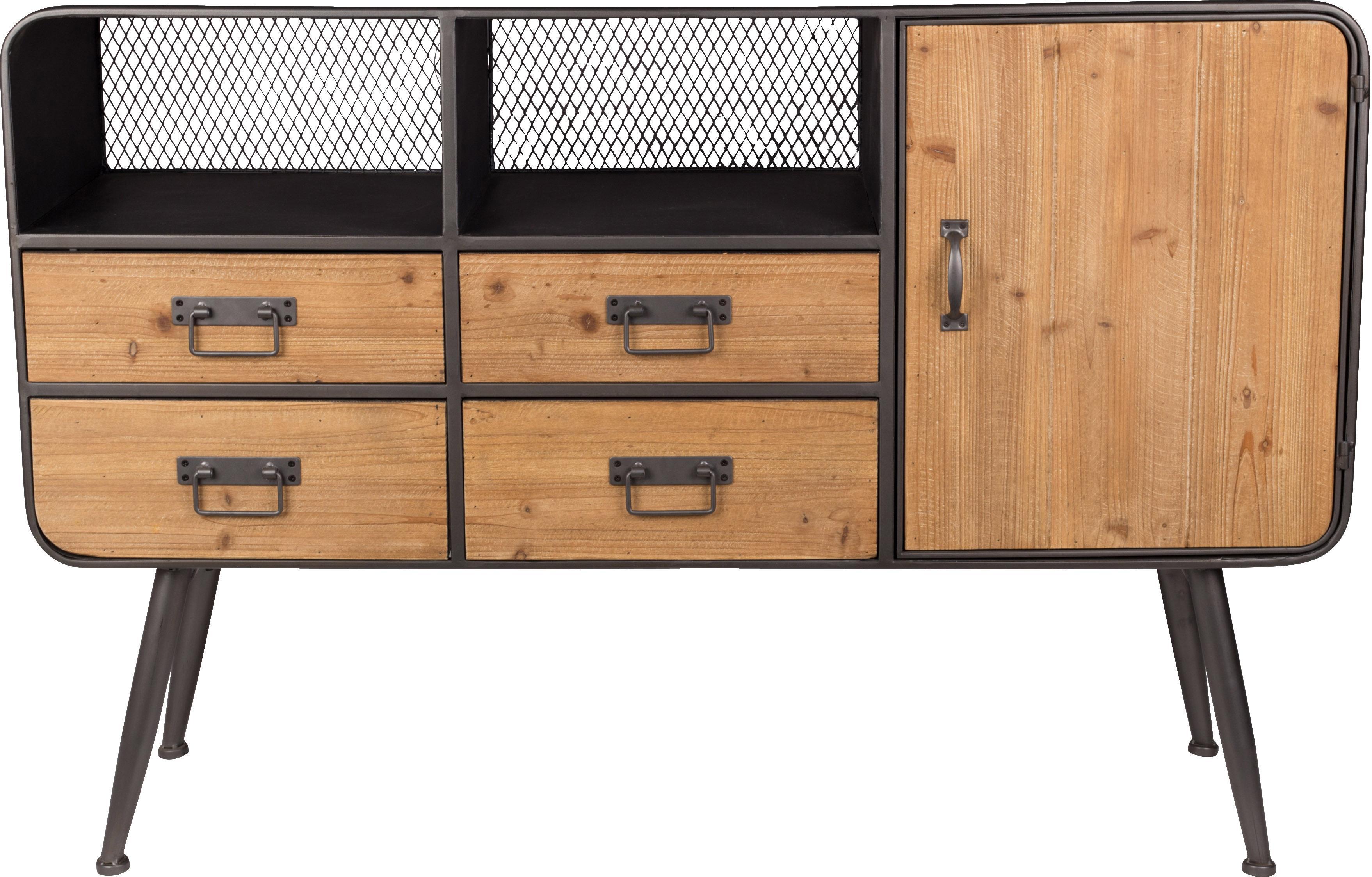 Cómoda Gin, estilo industrial, Madera de abeto, gris, An 120 x Al 80 cm