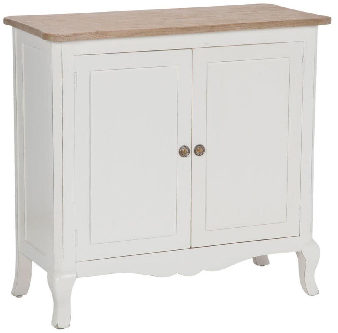 Mueble auxiliar artesanal Marsella, Blanco, marrón, An 96 x Al 91 cm