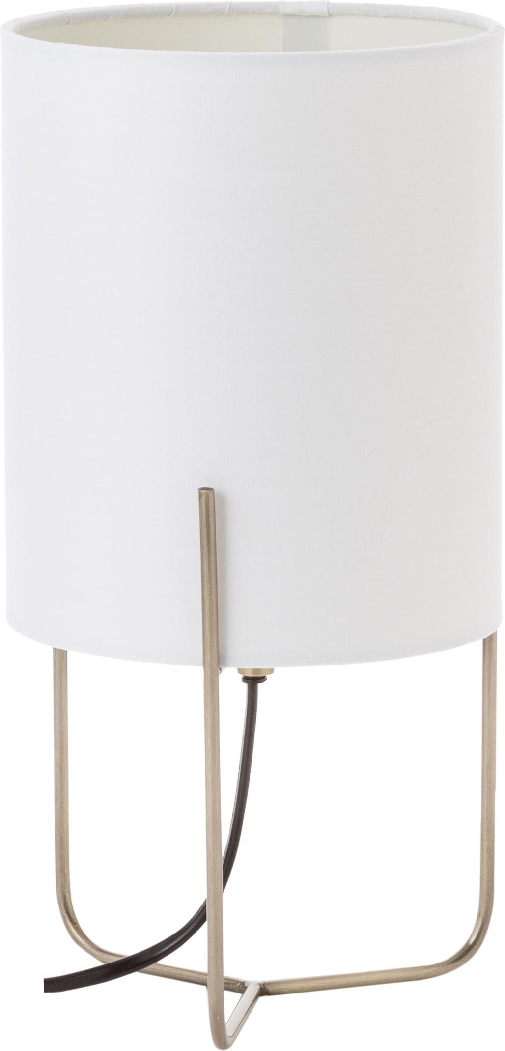 Lámpara de mesa pequeña Odin, estilo clásico, Pantalla: poliéster, Cable: cubierto en tela, Blanco, dorado, Ø 15 x Al 30 cm