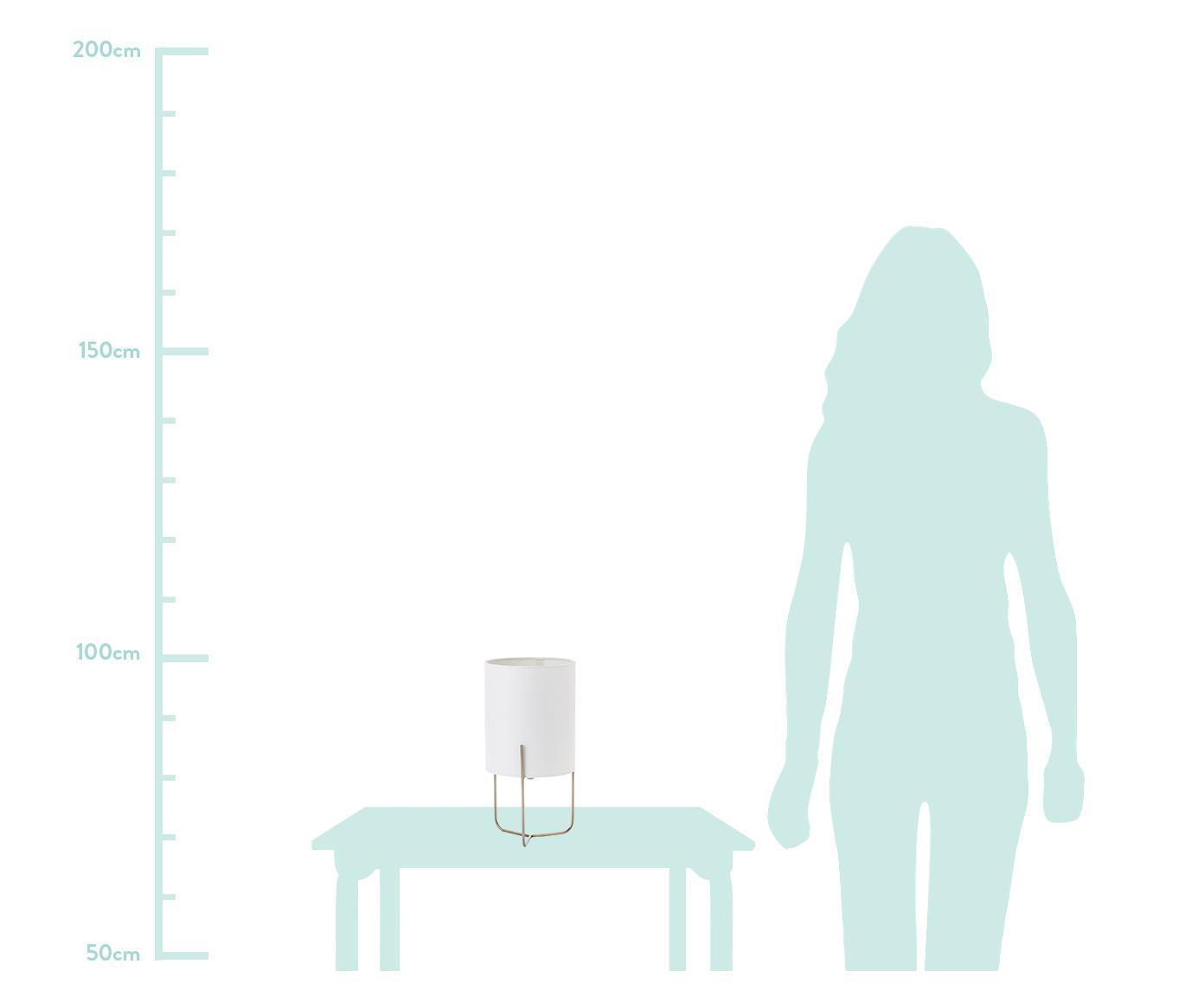 Kleine Klassische Tischlampe Odin, Lampenfuß: Messing, Lampenschirm: Polyester, Weiß, Goldfarben, Ø 15 x H 30 cm
