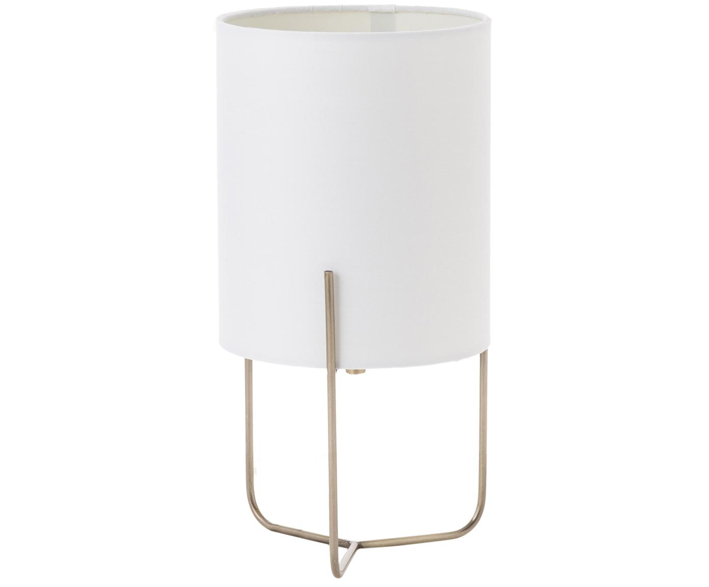 Kleine Tischleuchte Odin, Lampenfuß: Messing, Lampenschirm: Polyester, Weiß, Goldfarben, Ø 15 x H 30 cm