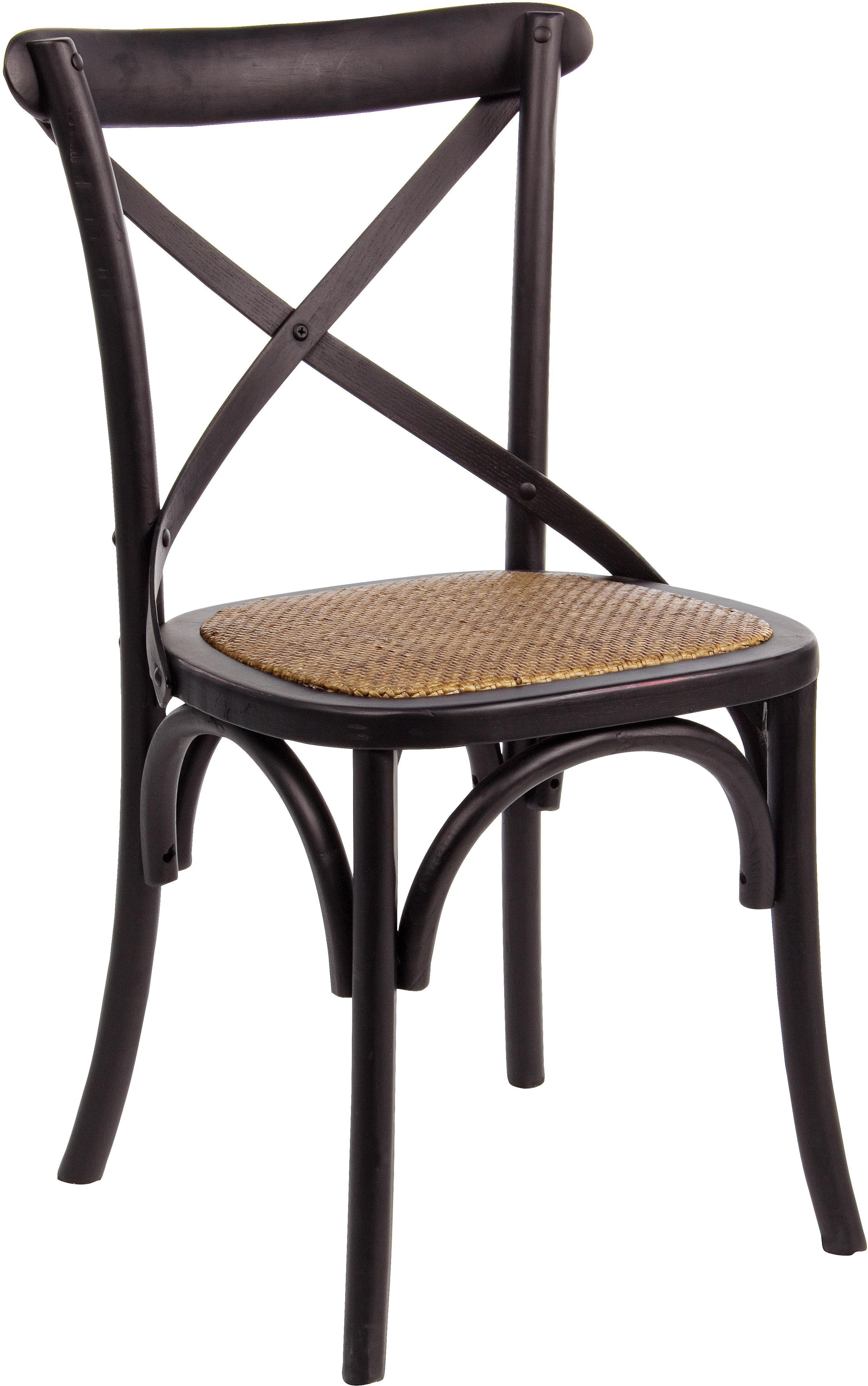 Sedia Cross, Struttura: legno di olmo, verniciato, Seduta: rattan, Struttura: nero<br>Seduta: rattan, L 42 x P 46 cm
