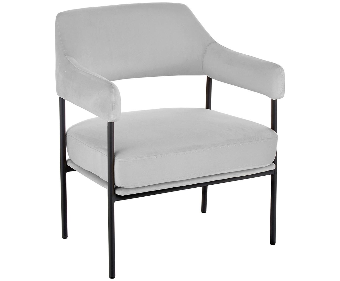 Fluwelen lounge fauteuil Zoe, Bekleding: fluweel (polyester), Frame: gepoedercoat metaal, Grijs, B 67 x D 66 cm