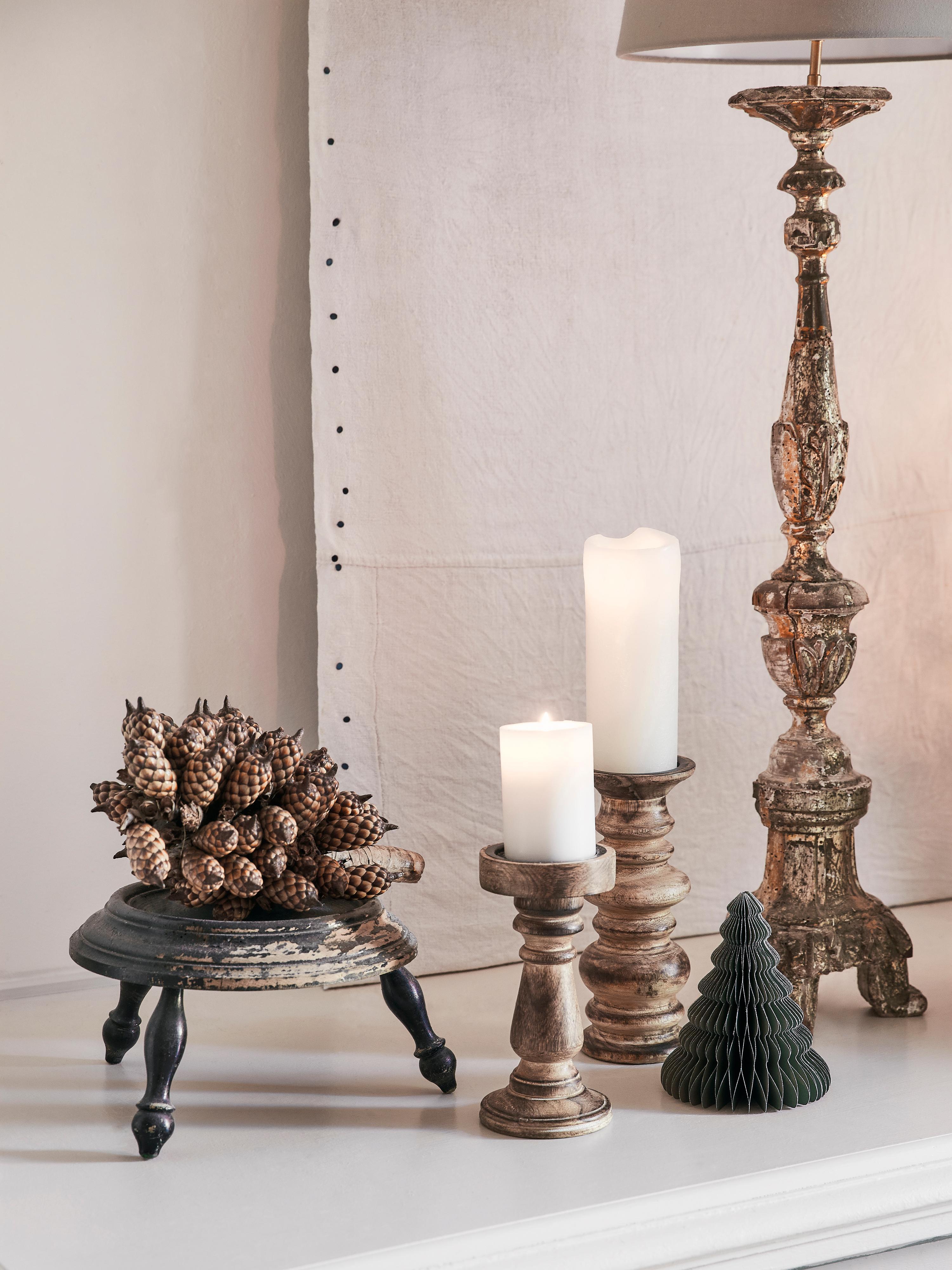 Kerzenhalter Stili, Mangoholz, Braun, Ø 10 x H 25 cm