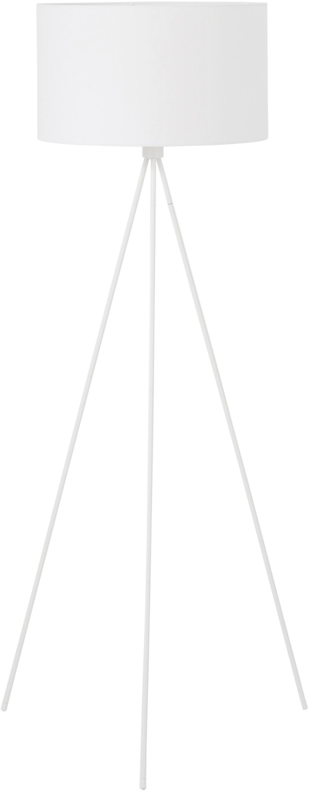Vloerlamp Cella, Lampvoet: gepoedercoat metaal, Lampenkap: katoenmix, Wit, Ø 48 x H 158 cm