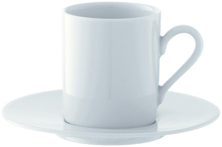 Komplet filiżanek do espresso ze spodkami Bianco, 4 elem., Porcelana, Biały, Ø 12 x W 7 cm
