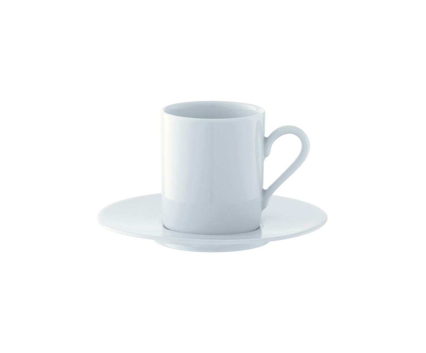 Espressotassen mit Untertassen Bianco aus Porzellan, 4 Stück, Porzellan, Weiss, Ø 12 x H 7 cm
