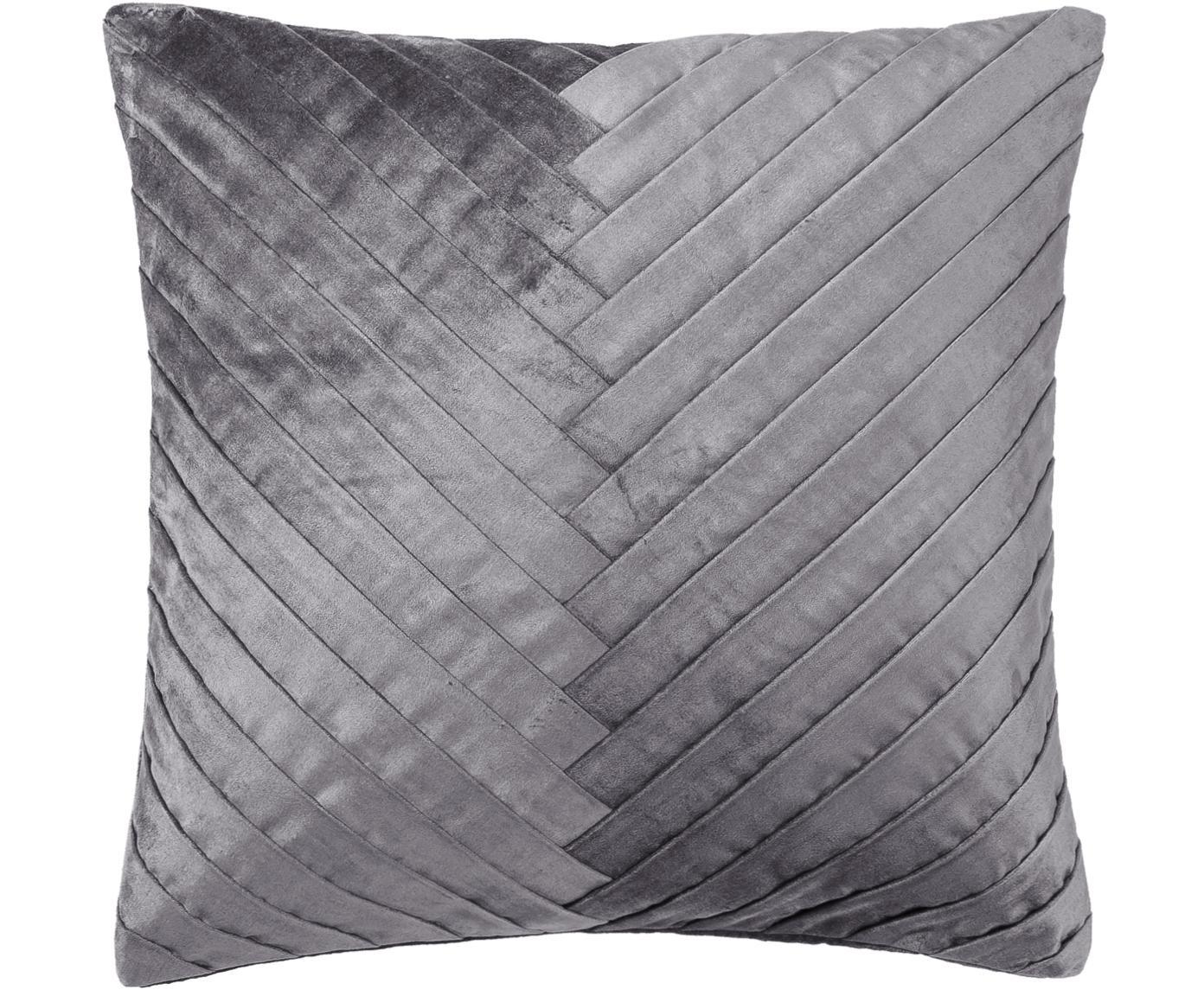 Poszewka na poduszkę z aksamitu Betty, 50% bawełna, 50% wiskoza, Srebrnoszary, S 50 x D 50 cm