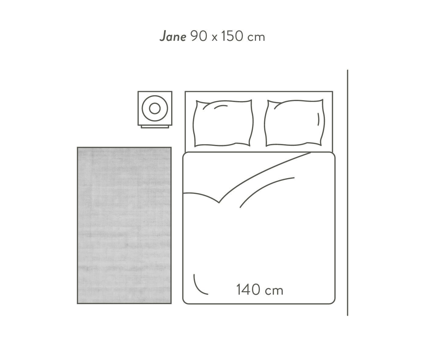 Handgeweven viscose vloerkleed Jane, Bovenzijde: 100% viscose, Onderzijde: 100% katoen, Zilvergrijs, B 300 x L 400 cm (maat XL)