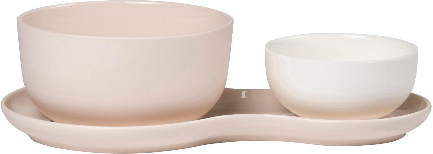 Komplet do serwowania Roseberry, 3 elem., Porcelana, Kremowy, blady różowy, Komplet z różnymi rozmiarami