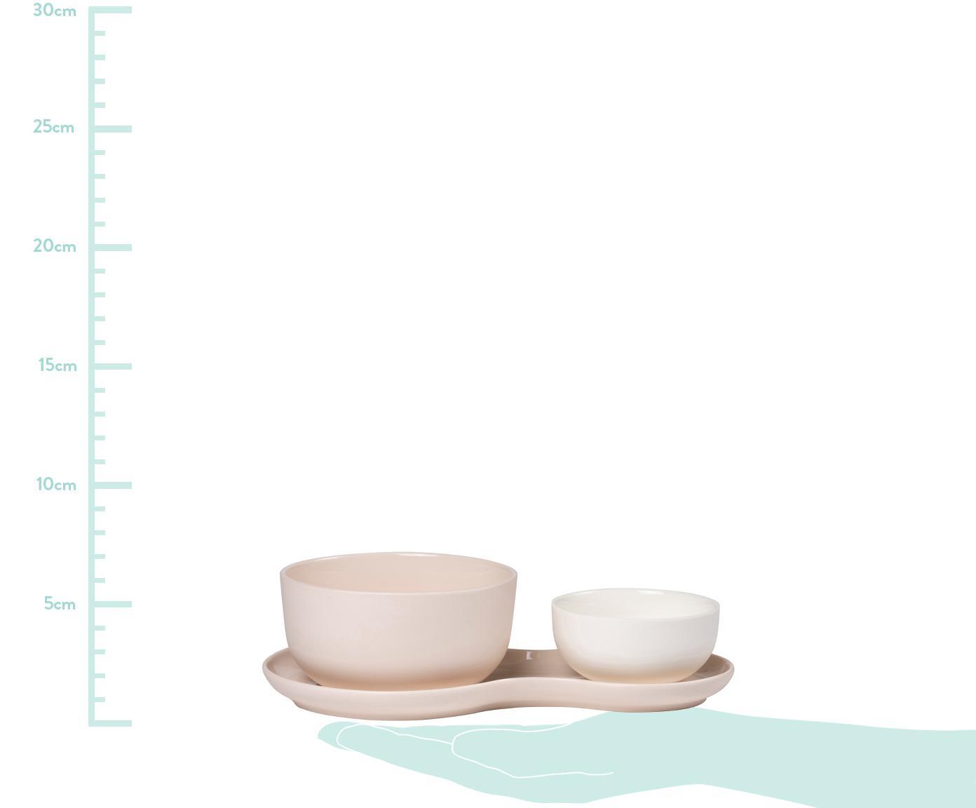 Komplet do serwowania Roseberry, 3 elem., Porcelana, Kremowy, blady różowy, Różne rozmiary