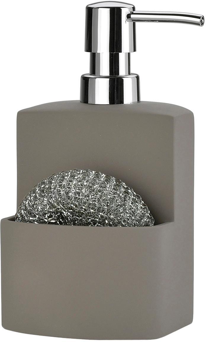 Zeepdispenser-set Seeque, 2-delig, Grijs, zilverkleurig, 11 x 19 cm
