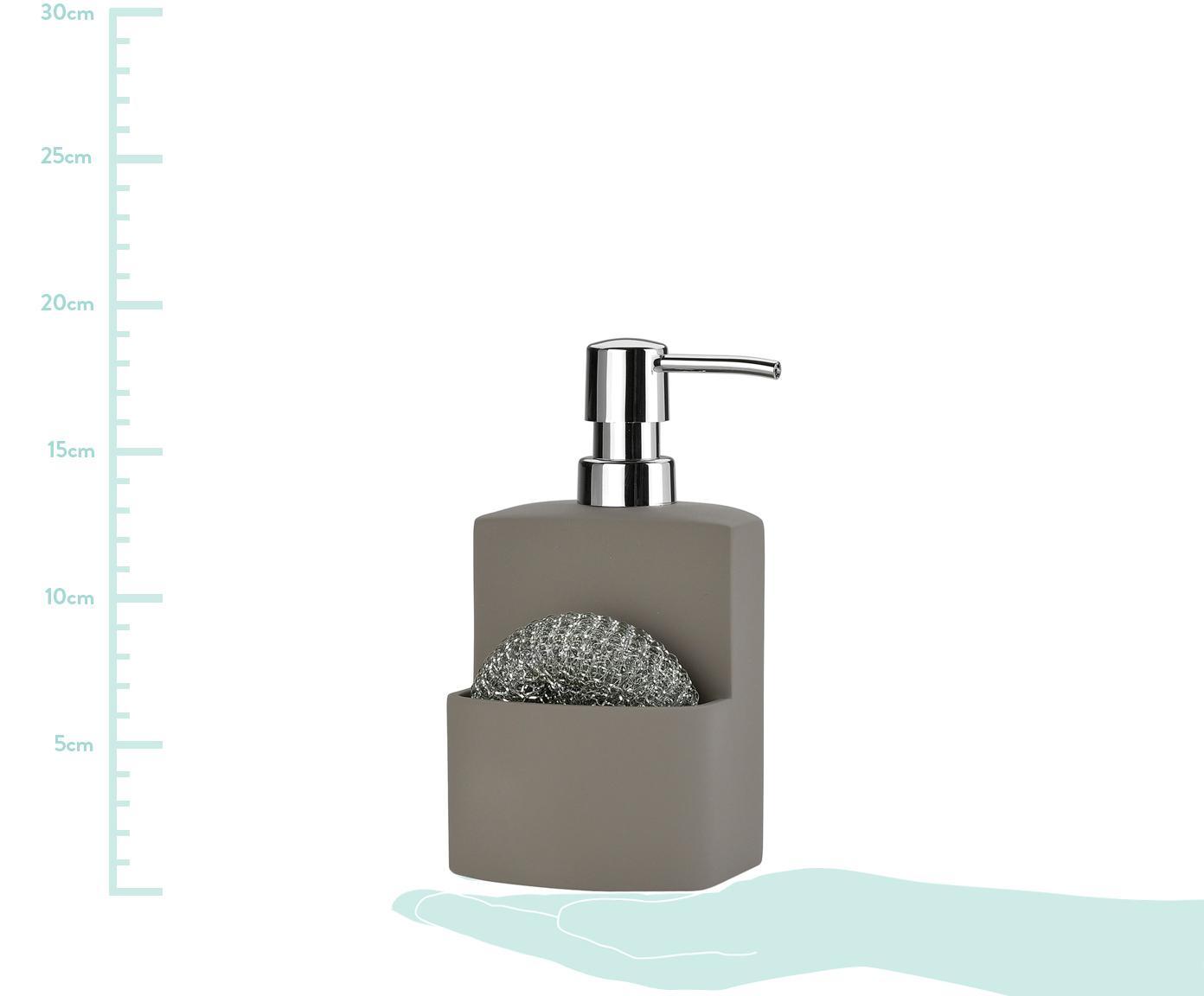 Seifenspender Seeque mit Schwamm, 2-tlg., Metallschwamm: Metall, Grau, Silberfarben, 11 x 19 cm