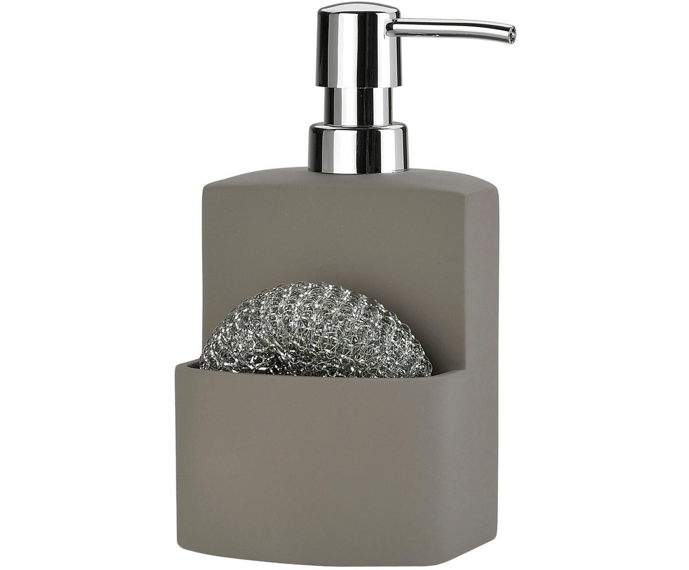 Set de dosificador de jabón Seeque, 2pzas., Estropajo: metal, Gris, plateado, Ancho 11 x Alto 19 cm