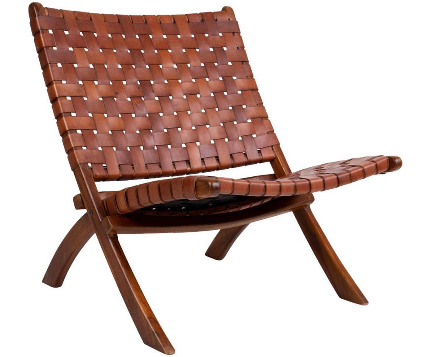 Sillón de cuero Montana, Tapizado: cuero, Patas: madera de teca, Marrón, An 74 x F 66 cm